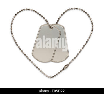 Dog Tags in Shape of Heart to Support the Troops and The Fallen. Isolated on a White Background. - Stock Photo