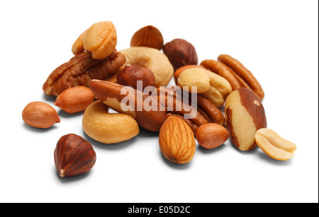 Variety of Mixed Nuts Isolated on White Background. - Stock Photo