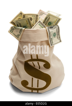 Bank Bag full of US Money with Money Symbol $ Isolated on a white background. - Stock Photo