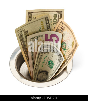 Cash Money Going Down the Sink Drain Isolated on White Background. - Stock Photo