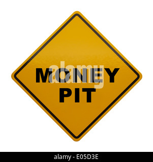 Yellow Caution Sign with Money Pit on it Isolated on White Background. - Stock Photo