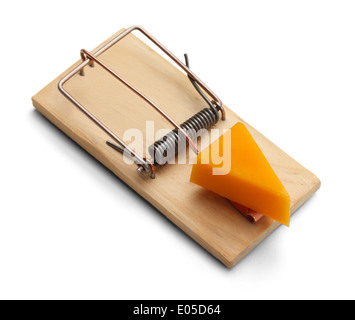 Mouse Trap with Cheddar Cheese Isolated on White Background.
