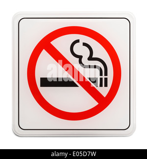 Square Red and Black No Smoking Sign Isolated on White Background. - Stock Photo