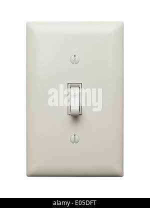 Light Switch in the Off Position Isolated on White Background. - Stock Photo