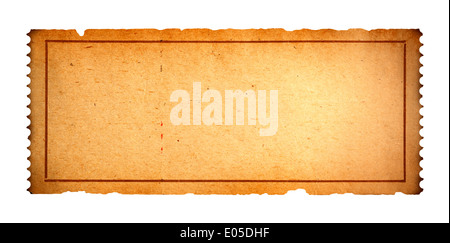 Antique Movie Ticket With Copy Space Isolated on White Background. - Stock Photo