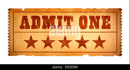 Admit One Paper Ticket Isolate on White Background. - Stock Photo