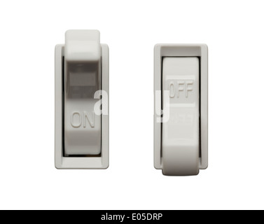 Light Switch Postions Isolated on White Background. - Stock Photo