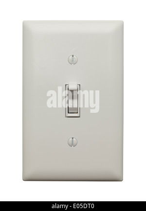 Light Switch in the On Postion Isoleted on White Background. - Stock Photo