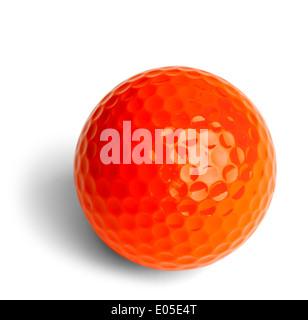 Orange Miniature Golf Ball Isolated On White Background. - Stock Photo