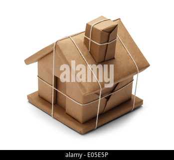 House Wrapped up In Brown Paper And String rope Isolated on White Background. - Stock Photo