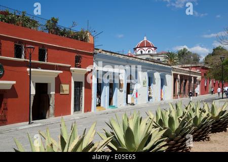 Colonial houses Macedonio Alcala Oaxaca City Mexico - Stock Photo