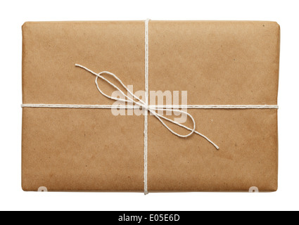 Brown Paper Parcel With Thin Tied Rope Package or Present Isolated On White Background. - Stock Photo