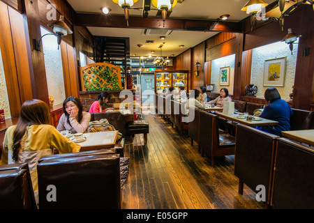 Interior view of a cafe in Kyoto, Japan - Stock Photo