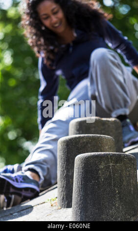 London, UK. 3rd May 2014. Participant attending training classes during the Women's International Parkour Weekend - Stock Photo