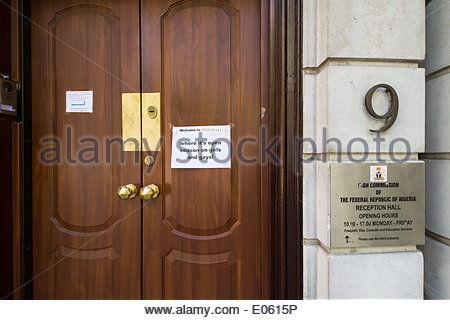 London, UK. 3rd May 2014. Protest signs against Boko Haram outside Nigerian Embassy in London Credit:  Guy Corbishley/Alamy - Stock Photo