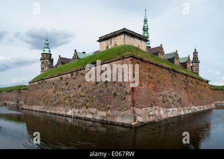 Kronborg Castle (Hamlet's castle) seen from the moat, Helsingnor, Denmark - Stock Photo