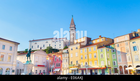 Tartini square in Piran, Slovenia, Europe - Stock Photo