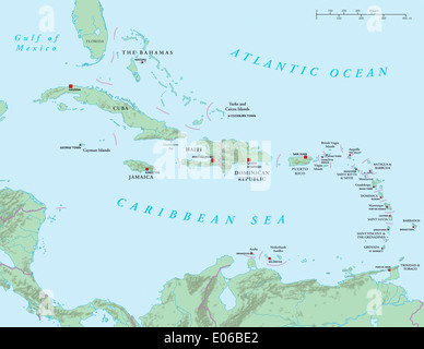 Political Map Of Lesser Antilles Haiti And Dominican Republic With