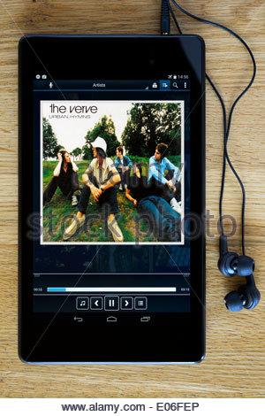 The Verve album Urban Hymns MP3 album art on PC tablet, England - Stock Photo