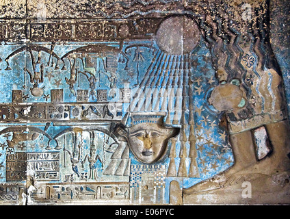 Egypt,Dendera,Ptolemaic temple of the goddess Hathor.View of ceiling with the goddess Nut. - Stock Photo