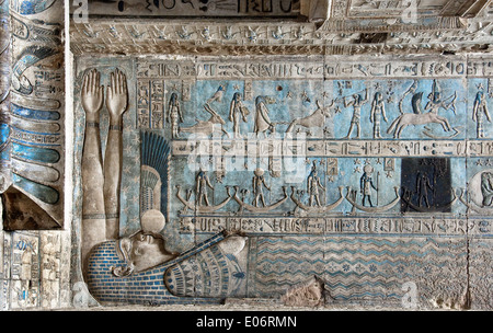 Egypt,Dendera,Ptolemaic temple of the goddess Hathor.View of ceiling before cleaning. - Stock Photo
