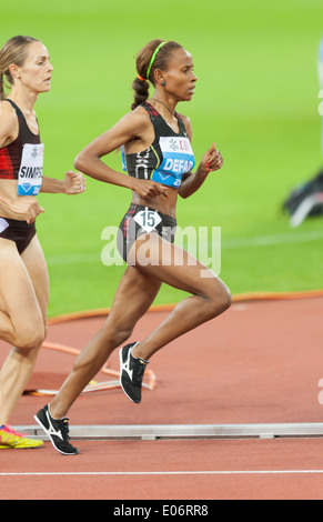 The Etiopian long-distane runner Meseret Defar on her way to wining the 5000m woman's Diamond League race in Zurich. - Stock Photo