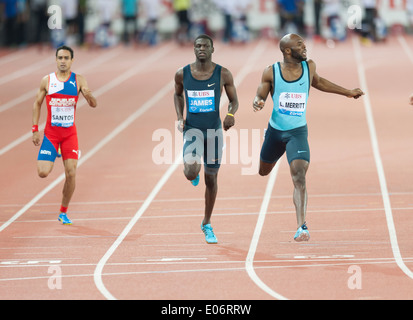 US athlete Lawshawn Merritt defeats Kirani James (GRN) and Santos at the men's 400m of the IAAF Diamond League meeting - Stock Photo