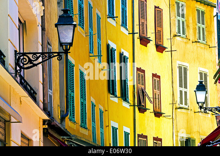 Europe, France, Alpes-Maritimes, Nice. The colored facade of the old town. - Stock Photo