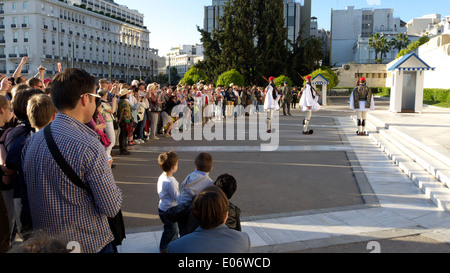 greece athens syntagma square evzones soldiers guarding the vouli - Stock Photo