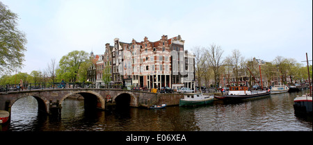 Panorama of  Prinsengracht and  Brouwersgracht canal in Amsterdam, The Netherlands - Stock Photo