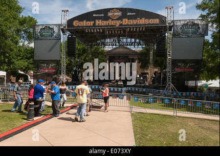 Gator Harley-Davidson Music Stage setup at the Leesburg, Florida USA