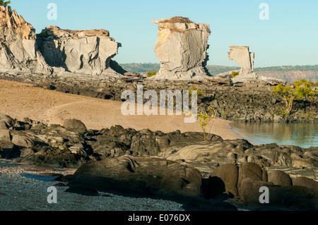 Elgee Siltstone Structures on Edeline Island, the Kimberley, Western Australia, Australia - Stock Photo