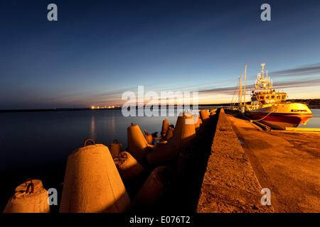Dawn at Old City Marina harbor in Tallinn, Estonia, EU - Stock Photo