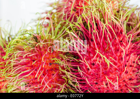 rambutan on white background fruit of asia Thailand - Stock Photo