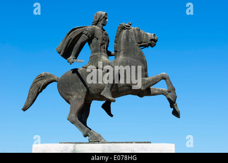 Statue of Alexander the Great at Thessaloniki, Greece - Stock Photo