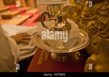 Holy silver ewer and washstand-basin - Stock Photo