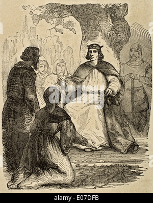 Louis IX or Saint Louis (1214-1270). King of France. St Louis administering justice under a beech. Engraving.
