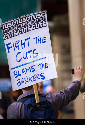 Salford, Manchester, UK  5th May, 2014. Placard TUSC against the cuts.  'Fight the Cuts.  Blame the Bankers' poster - Stock Photo