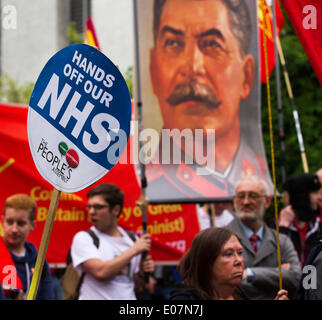 Salford, Manchester, UK  5th May, 2014. 'Hands of the NHS' and picture poster of Stalin, russia, communism, general - Stock Photo
