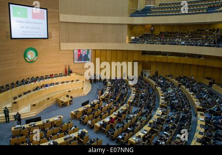 Addis Ababa, Ethiopia. 5th May, 2014. Chinese Premier Li Keqiang delivers a speech at African Union (AU) Conference - Stock Photo