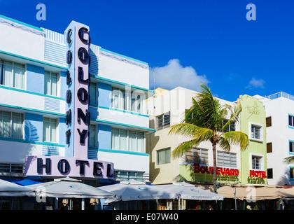 Art deco hotels on Ocean Drive, South Beach, Miami Beach, Florida, USA - Stock Photo