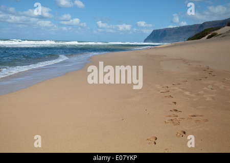 Barking Sands beach Kauai, Hawaii. - Stock Photo