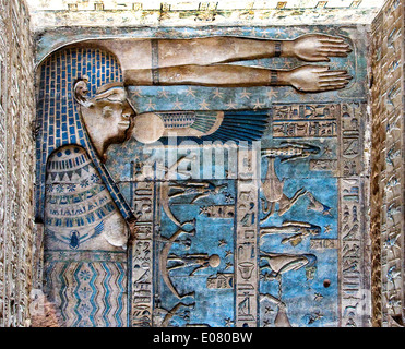 Egypt,Dendera,Ptolemaic temple of the goddess Hathor.View of ceiling showing the Nut goddess - Stock Photo