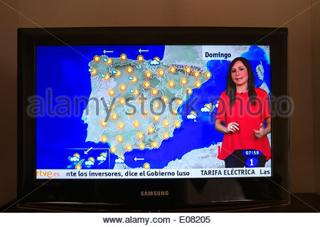 Television picture - Spanish TV weather forecast, showing a day of fine sunny weather. Spain, Europe. - Stock Photo