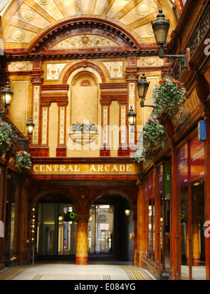 Architectural interior detail of the ornate Central Arcade in Newcastle upon Tyne, England, UK - Stock Photo