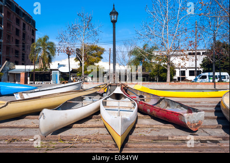 Parking of personal vehicles in El Tigre, a town in the delta of the Rio de la Plata, province of Buenos Aires, - Stock Photo