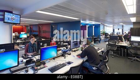 BBC Broadcasting House, London, United Kingdom. Architect: HOK International Ltd, 2014. IT desks. - Stock Photo