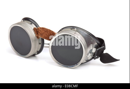 Steampunk goggles isolated on white - Stock Photo