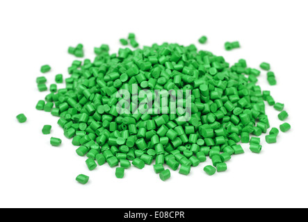 Pile of green polymer granules isolated on white - Stock Photo