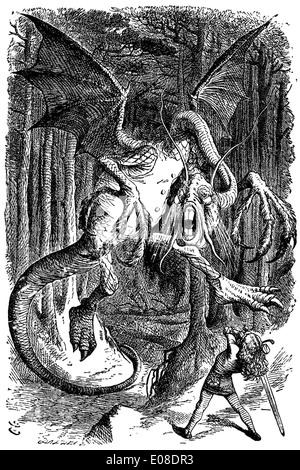 Illustration to the poem Jabberwocky by English illustrator Sir John Tenniel - Stock Photo